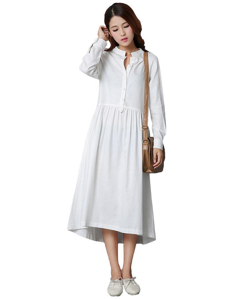 da655ac136e2 Women Cotton Linen Midi Dress Front Button Long Sleeve Asymmetric Hem Shirt  SressSolid Irregular Dress Black/White Vestido Midi Plus Size Maxi Dress  Modest ...