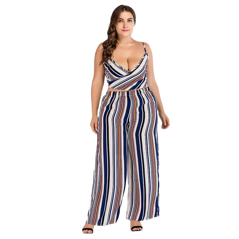 2019 WHZHM Striped Womens Set Hollow Out Bow Lace Up Backless Sexy Full  Long Pants Deep V Neck Beach Sleeveless Vadim Women Clothes From Wochanmei 1468860a0
