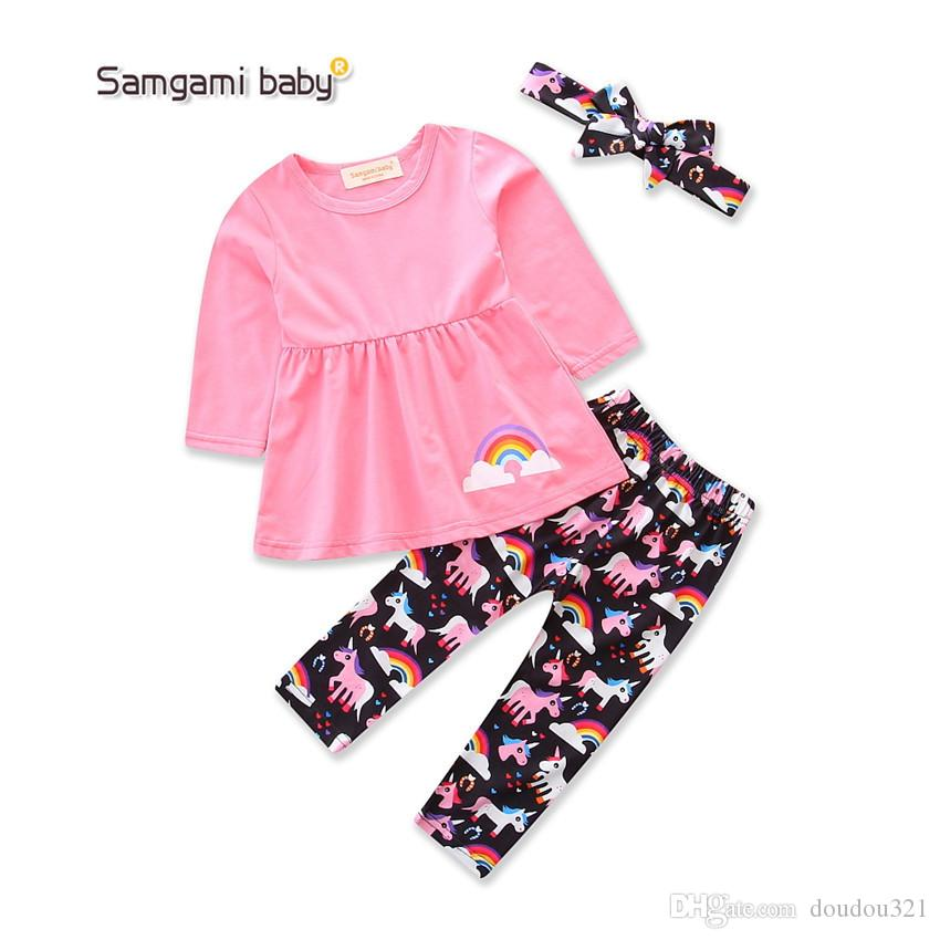 kids clothing girl Christmas style pink long sleeve tops +pant sets two-piece sets girl clothes