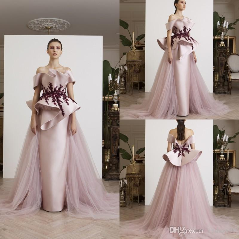 9e4c94feed5 Azzi Osta 2019 Satin Prom Dresses With Detachable Skirt Lace Dresses  Evening Wear Plus Size Off The Shoulder Formal Party Dresses Prom Dress Uk Prom  Dresses ...