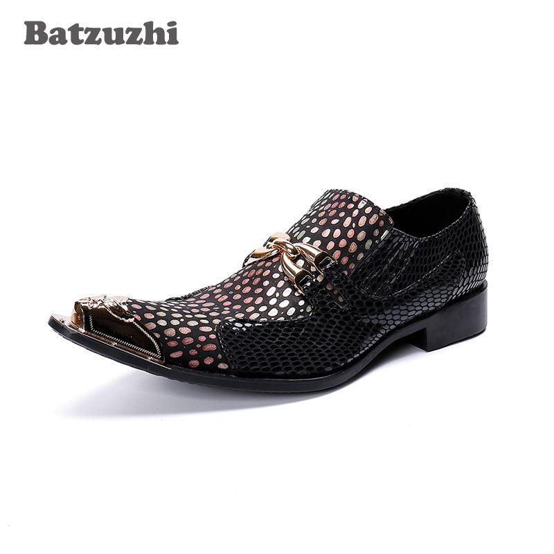 f55654a7e457b Compre Sapatos De Vestido De Couro Italiano Dos Homens Do Vintage De Metal Apontou  Toe Chaussure Homme Festa Formal E Sapatos De Casamento Oxford, Tamanho ...