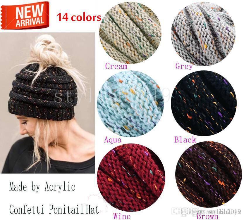 e8814eaf8fe Fashion 14color ponytail knit hat fashion girl women winter warm hat high  leisure hat