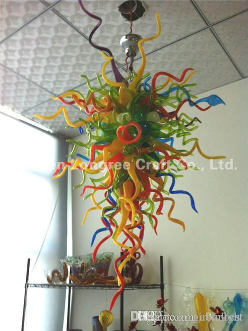 Wholesale Multi Color Crystal Chandeliers 100% Hand Blown Glass Turkish Style Hotel Decor Glass Chandeliers