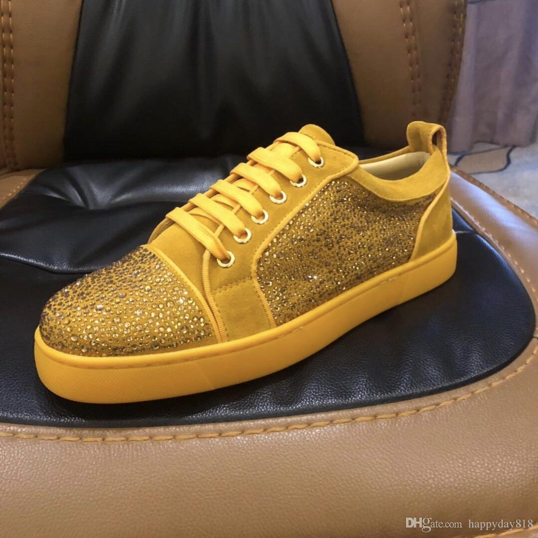 Fashion Casual Men s Sneakers Trainers Yellow Suede Studded Spikes ... ba60edb31876