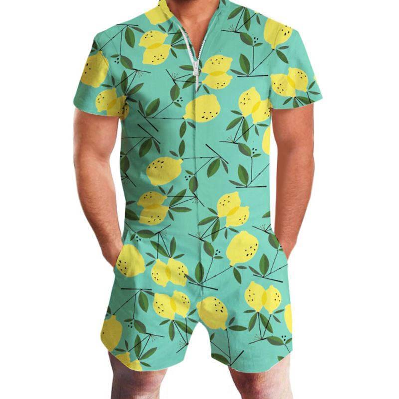 c0ab16e32e96 2019 2019 Men Rompers 3D Print Fruit Lemon Short Sleeve Jumpsuit Romper  Playsuit Beach Overalls One Piece Slim Fit Clothing Men S Set From  Lemon888