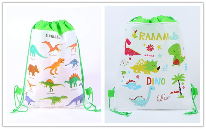 Dinosaur Cartoon Drawstring Backpack Kids Children 3D Print Non-woven Bags Pouch Draw string bag Teenager School bags Canvas backpacks New