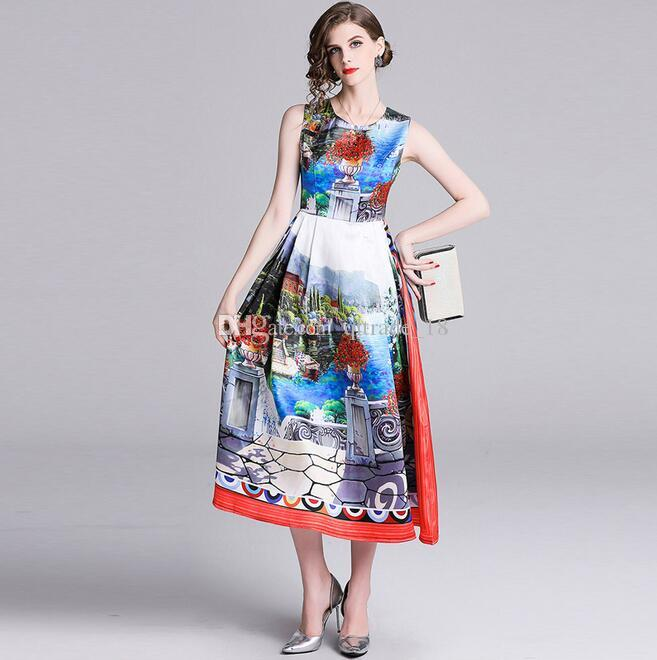 ea7758e7d871 2019 Summer Flora Printed Casual Empire Long Dresses Contrast Color Crew  Neck Mid Calf Skirts Sleeveless Prom Dresses Online White Formal Dresses  From ...