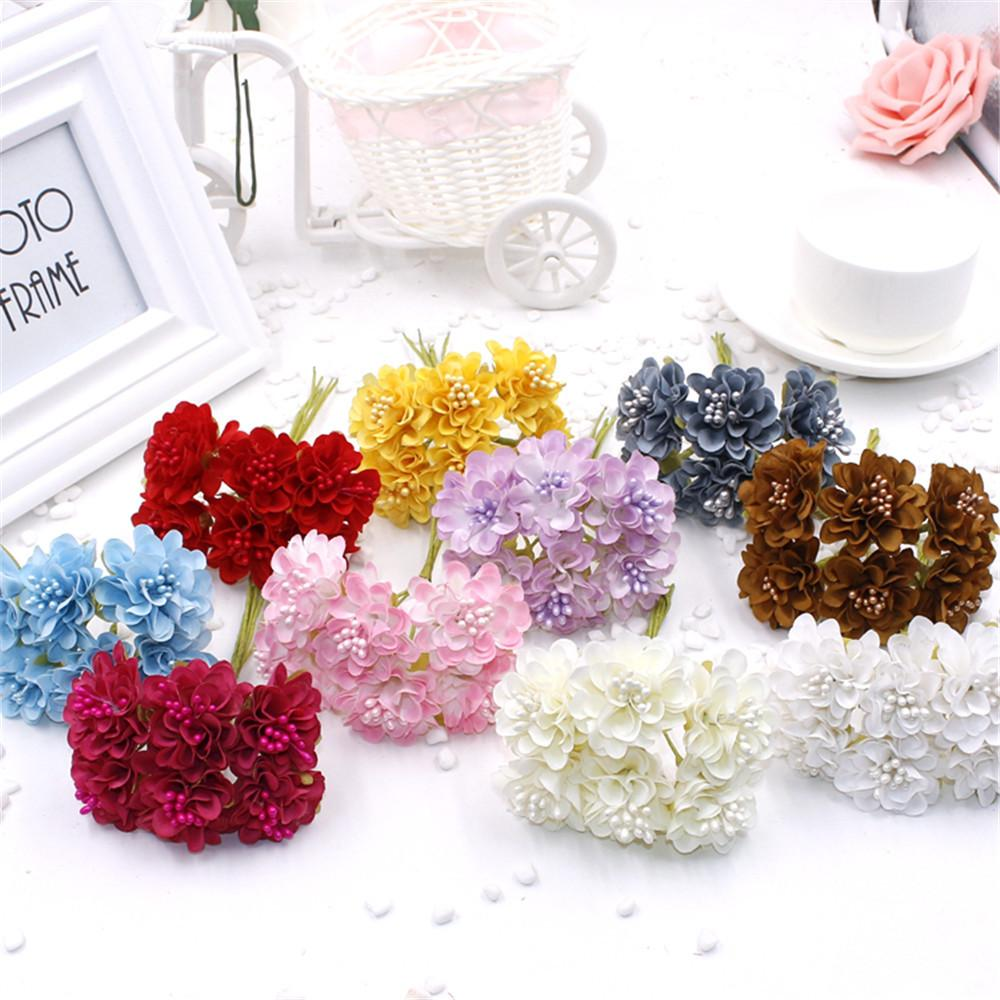 6 pcs/ lot cheap Mini Silk Daisy Artificial Rose Flowers Bouquet DIY Wedding Decoration Paper Flower For Scrapbooking Flower C18112601