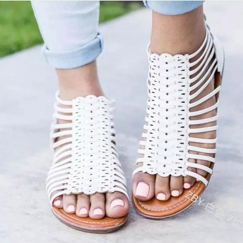 a6fec87cf Shoes Woman Summer Gladiator Flats Sandals Ladies Fashion Hollow Out Roman  Casual Beach Sandals Women Big Size Chaussures Femme White Mountain Shoes  Scholl ...