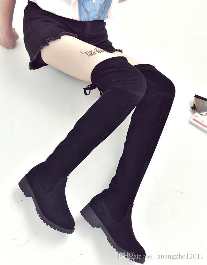 e0bd6c32a725 New Flock Leather Women Over The Knee Boots Lace Up Sexy High Heels Women  Shoes Lace Up Winter Boots Warm Size 35-40 Martin Boots Winter Boots  Women s Boots ...