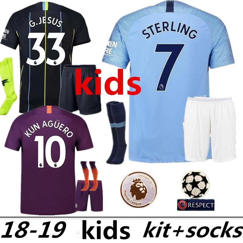 fd2f1879e Kids Kits 2018 2018 Manchester MAHREZ KUN AGUERO DZEKO Soccer Jersey ...