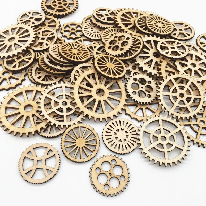50pcs/bag Mixed Wheel Gear Pattern Natrual Wooden Scrapbooking Hollow Craft Round Random for Handmade Home decor 25mm to 50mm ,7