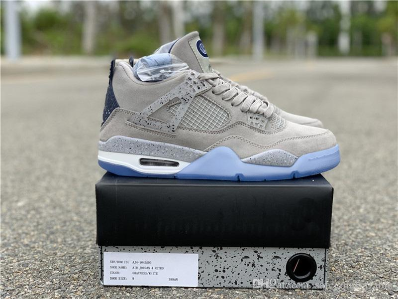 best service e6158 a3364 Limited PE 4s Georgetown Hoyas Grey White 4 Suede IV Men Basketball Shoes  Sports Sneakers Outdoor With Original Box