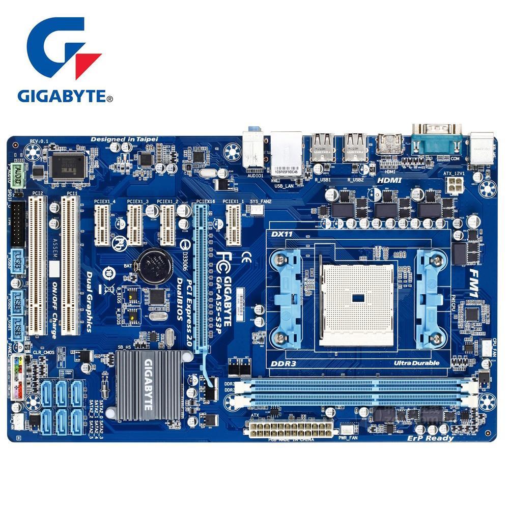 Gigabyte GA-A55-S3P 100% Original Motherboard 90% New DDR3 DIMM 32G Desktop  Mainboard Boards A55 S3P A75 CPU Socket FM1 HDMI
