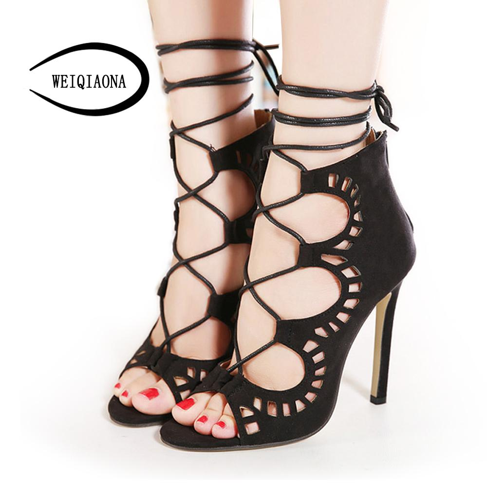 d893c385abb4 Dress Weiqiaona Plus Size 35 43 Women Pumps Brand Designer High Heels Cut  Outs Lace Up Open Toe Party Shoes Woman Gladiator Sandals Orthopedic Shoes  ...