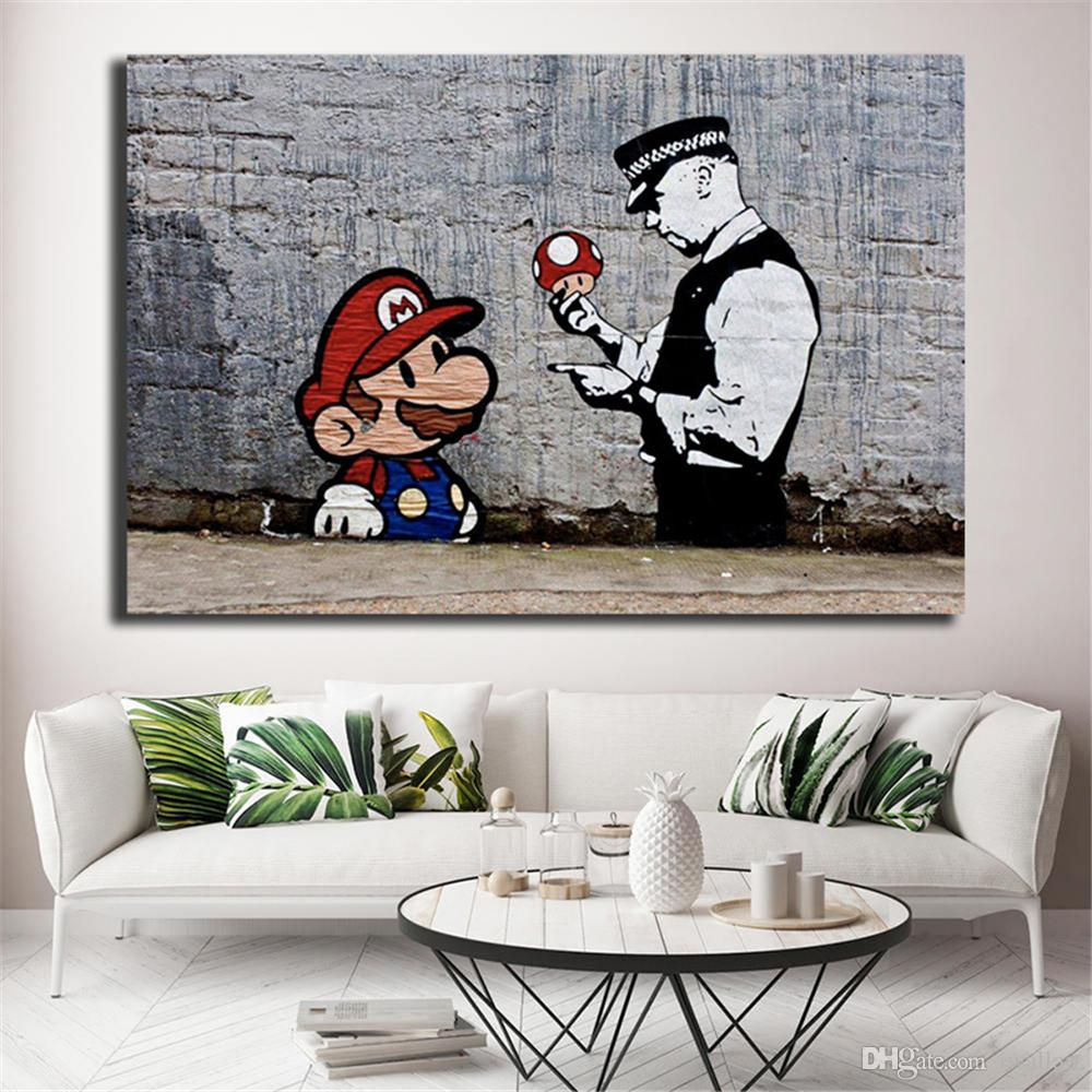 2019 Banksy Super Mario Wallpaper Hd Wall Art Canvas Posters Prints