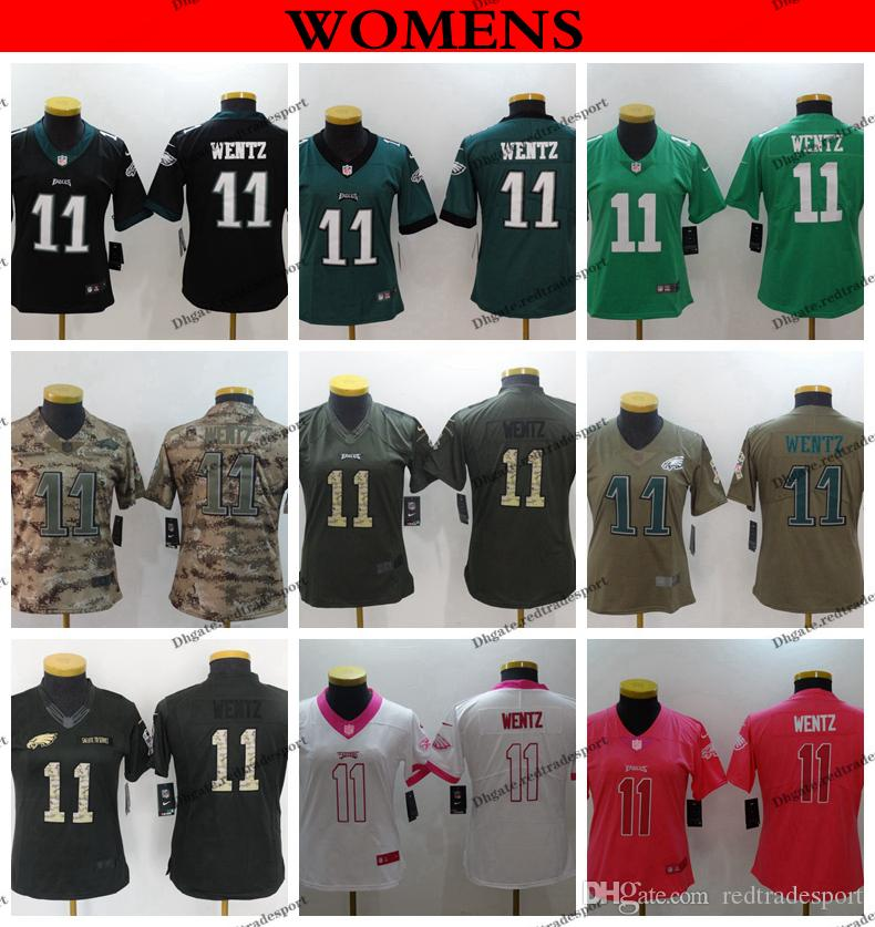 premium selection ea31e b1757 Womens Carson Wentz 2019 Camo Salute to Service Philadelphia Ladies Eagles  11 Carson Wentz Girls Football Jersey