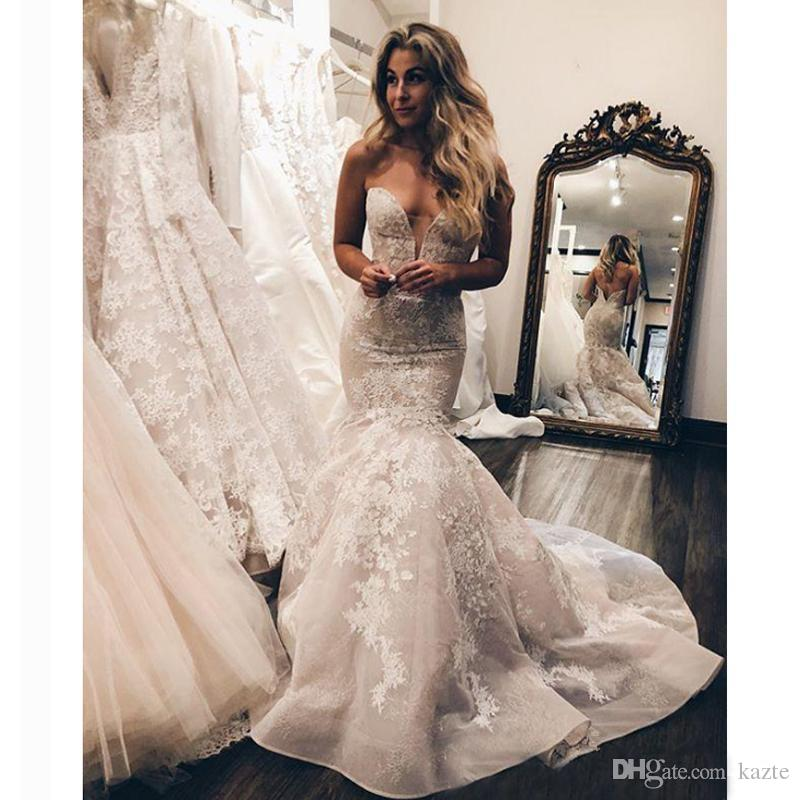 897ee5f2f72 Sweetheart Mermaid Wedding Dresses 2019 Ruffles Cathedral Train Full Lace  Applique Trumpet Fishtail Garden Bridal Gowns Plus Size Mermaid Wedding  Dresses ...