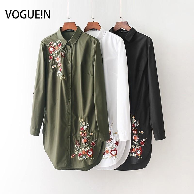 240738e81995 Voguein nuevas mujeres moda floral bordado solapa manga larga blanco verde  negro camisa larga blusa Tops venta al por mayor J190515