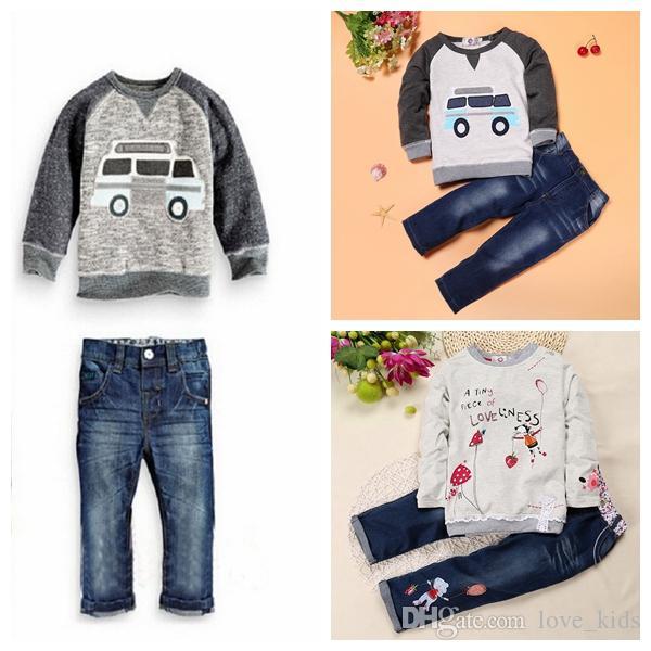 13eb61273a1d8 2pcs/lot Fashion flower kids baby children girls boys clothing sweater  jeans suit cartoon car print set outfit