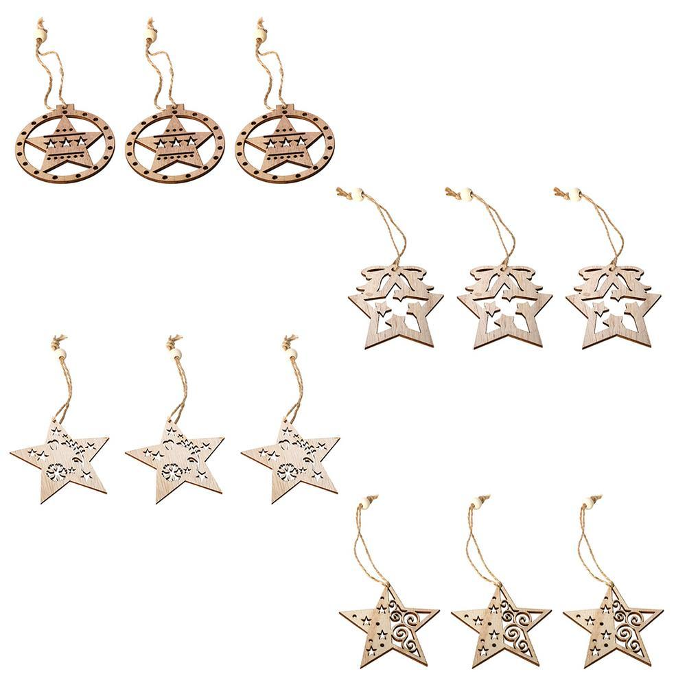 3PCS Star Hollow Wooden Pendants Ornaments Xmas Tree Ornament DIY Wood Crafts Kids Gift For Home Christmas Party Decorations