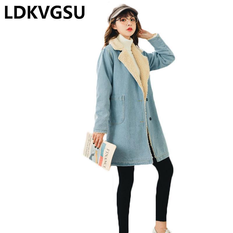 bc4592a1d20845 Cashmere Jaqueta Jeans Feminino Outono Inverno 2018 Nova Moda Coreano Solto  Grande Tamanho Longo Mais de Veludo Mulheres Acolchoado Parkas Is1551