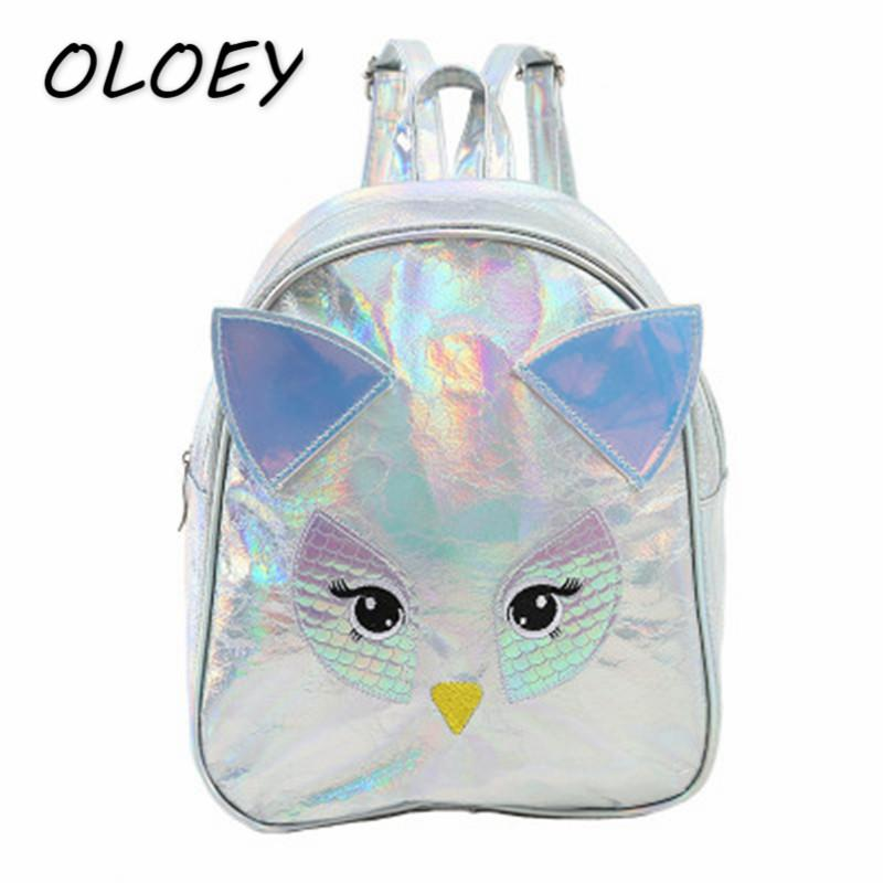 Kids Laser School Backpack Bookbag Women Mini PU Leather Bags Young Girls  Cute Cartoon Owl Portable Back Bags  Dakine Backpacks Back Pack From  Chicbagg 5cdfd233bd