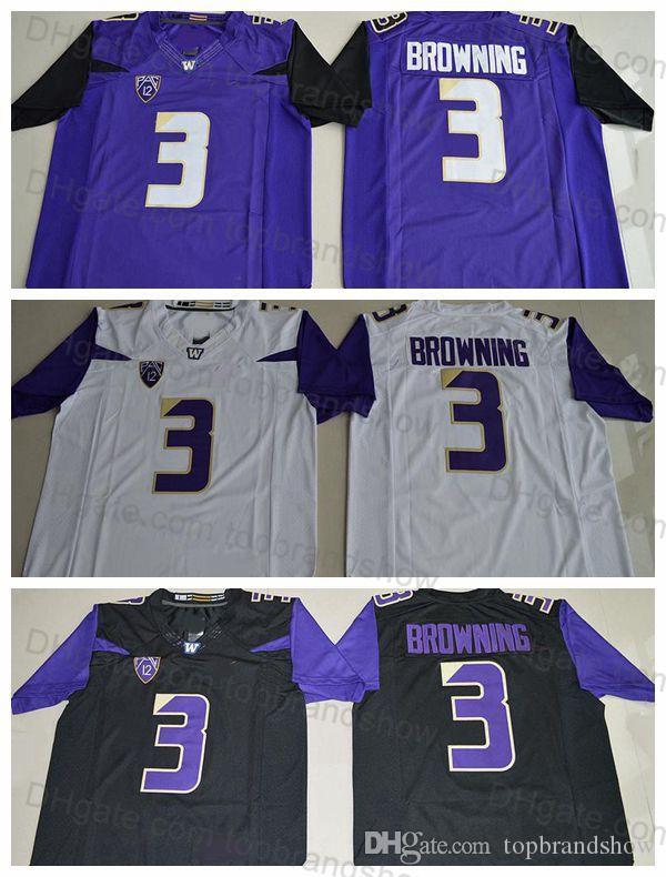 new product 3965a 7b765 Washington Huskies Mens 3 Jake Browning Jersey Stitched Purple Black White  Jake Brownin College Football Jerseys University Football Shirts