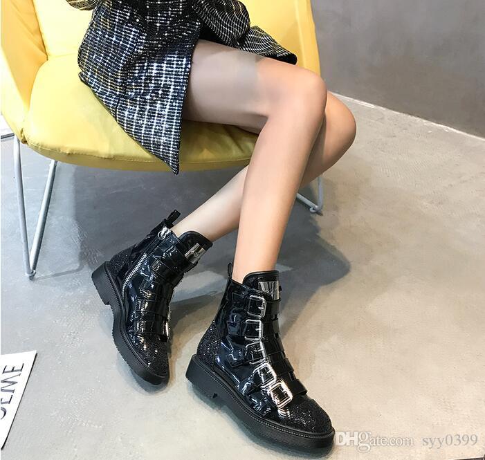 4a3d20f03ea Compre Moda De Lujo Para Mujer Plataforma De Cuero Genuino Botas Altas  Diseñador Martin Botas Chispa Con Lentejuelas Con Cordones Botas De Moto A   75.38 Del ...