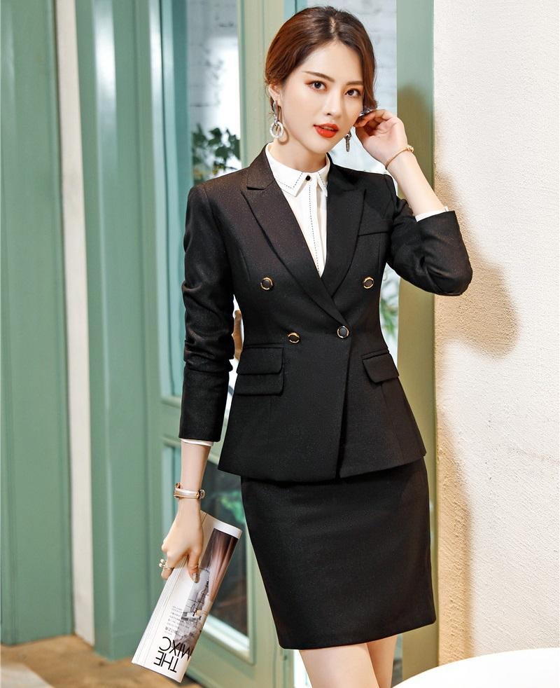 e4f583eb9795 Formelle elegante Frauen Schwarz Blau Rock Anzug für Business Rock Blazer  Anzüge Jacke Sets Arbeitskleidung Büro Dame Anzug Dame Uniform