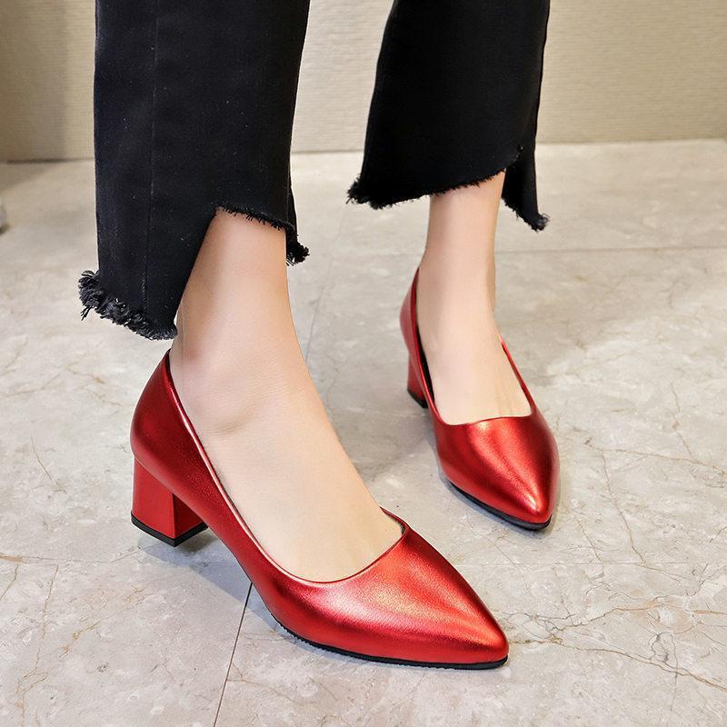8609477e60 Compre Sapatos De Vestido Sexy Bombas Elegantes Das Mulheres Salto Alto  Mulher Trabalho 2019 Primavera Outono Nova Moda Couro Pontudo Rasa Slip On  34 40 De ...