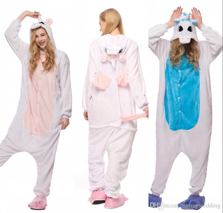 5d03bf084c Compre 2019 Adultos Pijamas De Invierno Pijamas Animales Casuales Conjuntos  Con Capucha Suave Homewear Ropa De Dormir De Franela Hembra Lindo Unicornio  ...