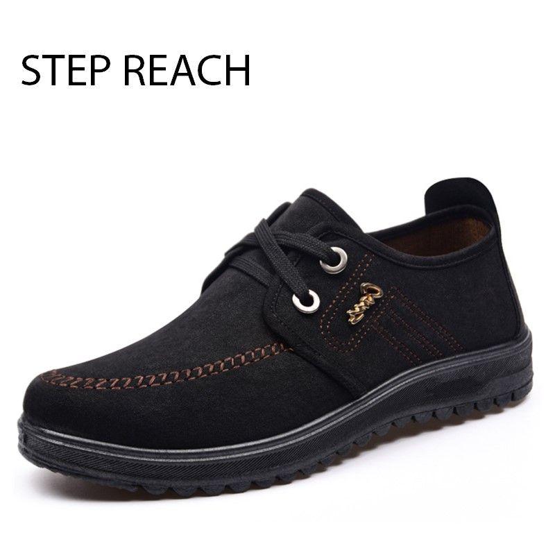 0bb224ad9cb Acheter STEPREACH Marque Chaussures Hommes Zapatos Hombre Chaussure Homme  Sapato Masculino Casual Toile Respirant À Lacets Solides Mocassins En  Caoutchouc ...