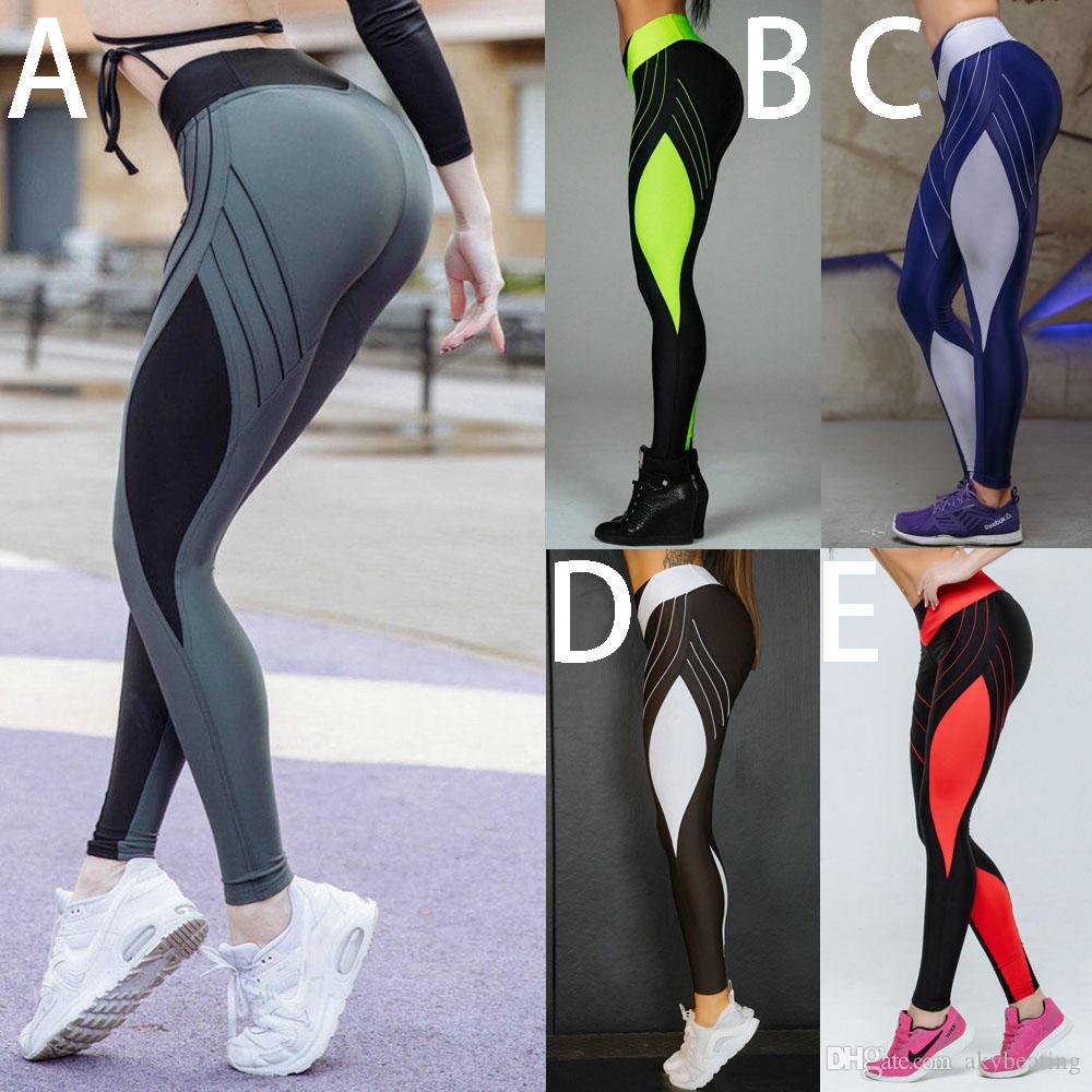 Womens Compression Tights Elastic Waist Yoga Leggings for Running Flexible Long Pants Jeggings