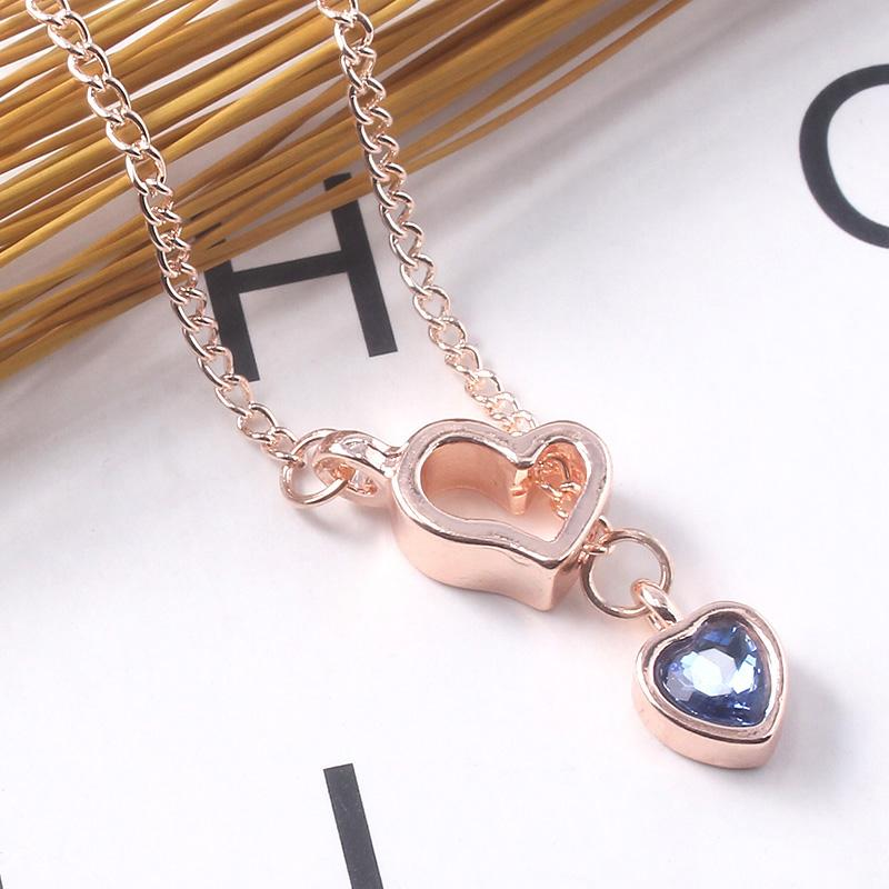 Fashion Heart shaped Necklace Solitaire Crystal Pendant Lady For Female Lady Girls Lover Mother Day Couple Jewelry