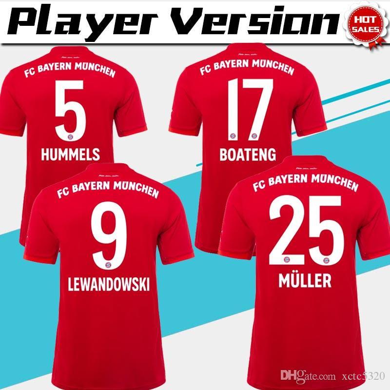buy online 16756 4460c Versione del giocatore Bayern Monaco 2020 home Uomo Maglie da calcio 19/20  Maglie da calcio rosse # 9 LEWANDOWSKI # 25 MULLER Uniformi da calcio
