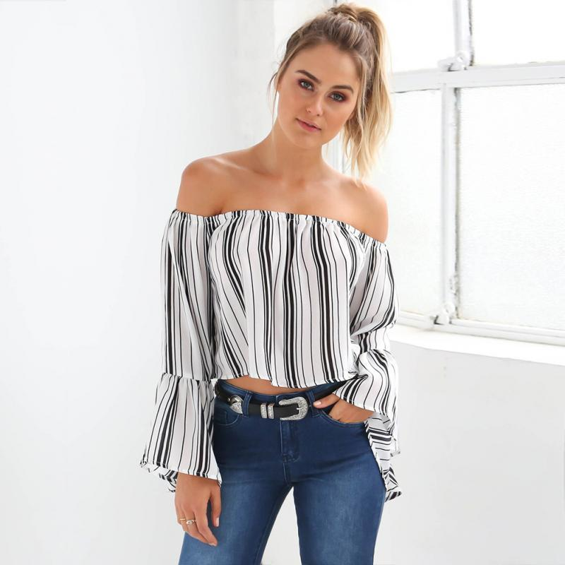 f67e3ed102f900 2019 Sexy Women Off Shoulder Long Sleeve Lotus Leaf Sleeve Shirt Fashion  Black And White Stripe Girls Blouse Crop Tops From Jincaile02