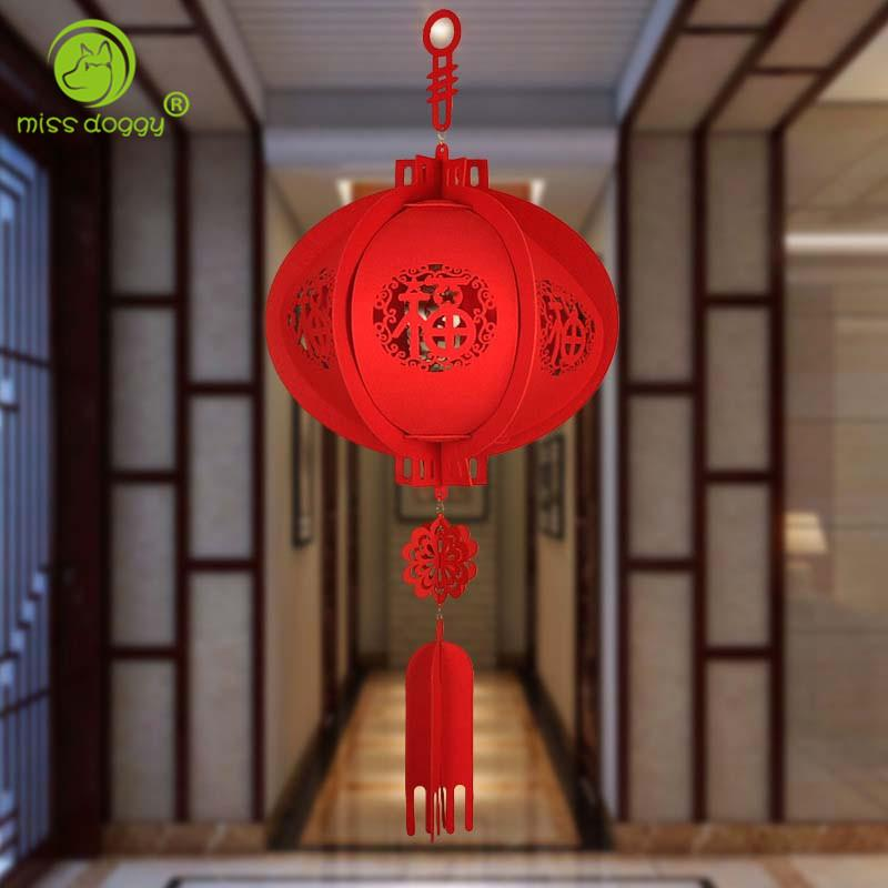 "Newly Design 3D China Red Lantern Durable Non-woven Fabric ""FU"" Letters Lantern Chinese New Year Party Decorations for Home 20E"