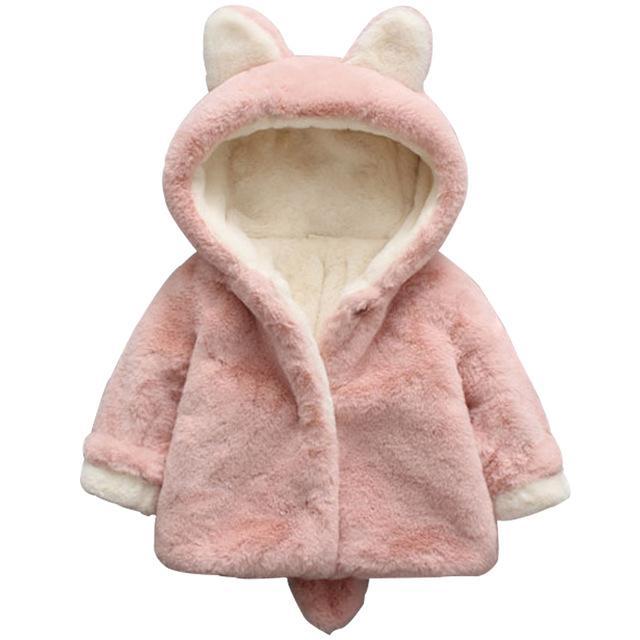 15af5f7d0c1a 2019 Autumn Winter Girls Faux Fur Fleece Hooded Coat Rabbit Ear ...