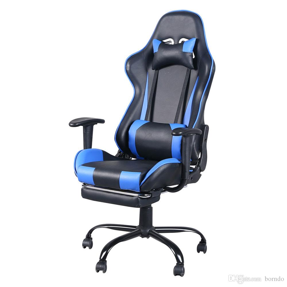 Gaming Chair, High Back Ergonomic Swivel Racing Chair Office Chair with Footrest Tier, Adjustable Backrest and Seat Height (Black with Blue)