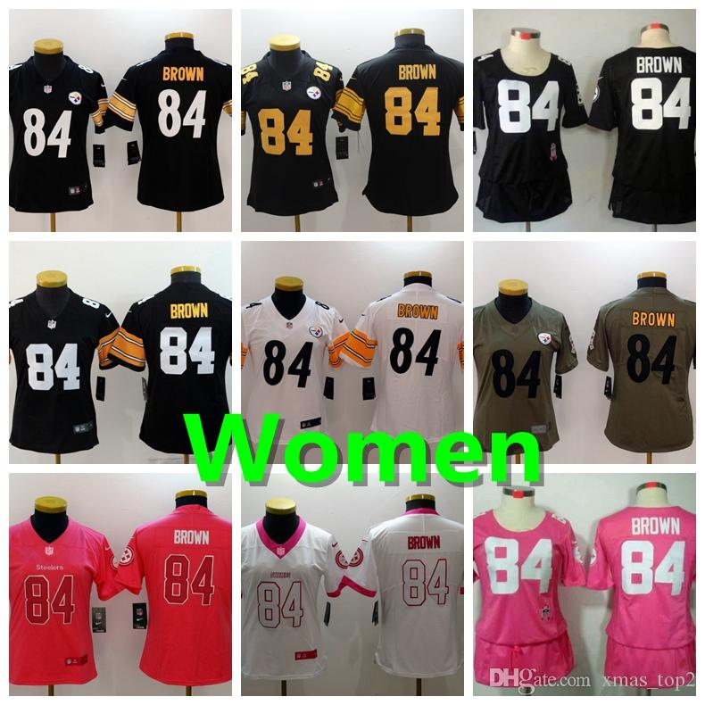 2019 New Women 84 Antonio Brown Jersey Pittsburgh Steelers Football Jerseys  Stitched Embrodery Steelers Antonio Brown Women Football Shirts Custom  Shirts ... a803412b6