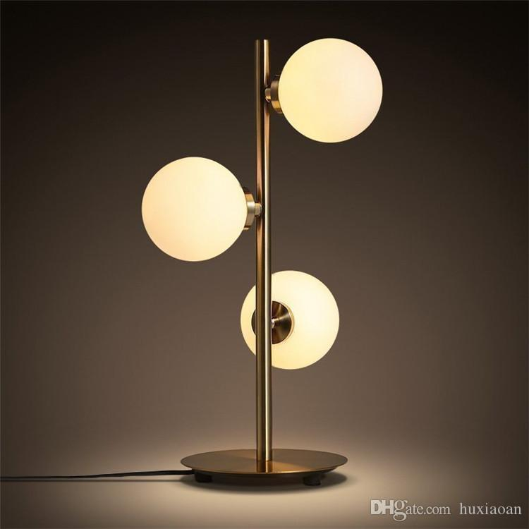 3 Heads Nordic Minimalist Art Molecular Table Lamp Romantic Golden Creative Metal Glass Ball Bedside Cafe Study Led Lighting