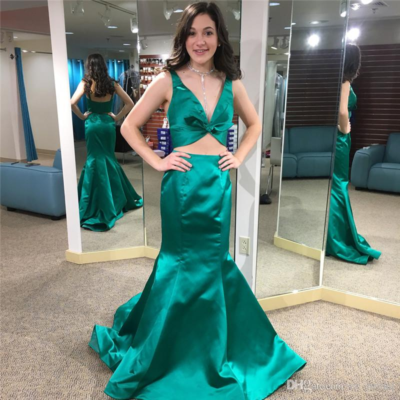bca312eca98 Hunter Green Satin Mermaid Prom Dresses 2019 Sexy Two Pieces Formal Evening  Dress Party For Women Cheap Plus Size Special Occasion Gowns Lace Prom  Dresses ...