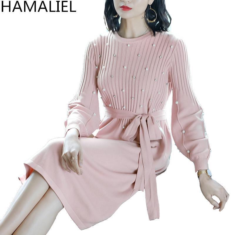 2019 HAMALIEL Vestidos Pink Knitting Women Dress Autumn Long Lantern Sleeve  Luxury Beading Casual Knitted Plus Size With Belt Dress C19011501 From  Shen8408 1df0076fd1c4