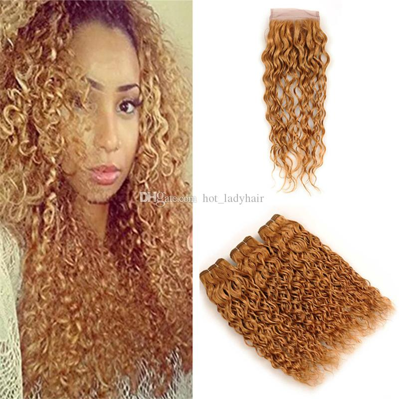 Color 27 Honey Blonde Wet and Wavy Human Hair Weave Bundles with Lace Closure Light Brown Water Wave Virgin Hair Wefts and Closure