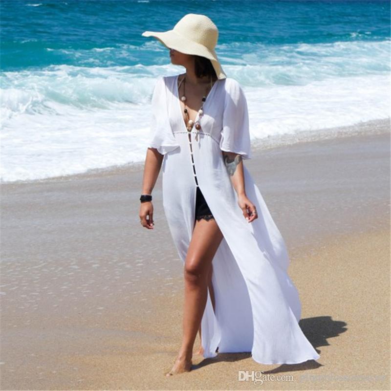 71a4acfbc2fef Women Beach Dress Long Beach Cover ups Swimwear Vestido largo Verano Mujer  Bathing suit Cover ups Bikini Kimono Sarong Robe de Plage Tunic
