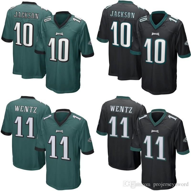 new styles 8a708 93e7a Mens Womens Youth 11 Carson Wentz Eagles Jersey 10 DeSean Jackson Game  Football Jerseys Cheap Wholesale Black Green Fast Shipping