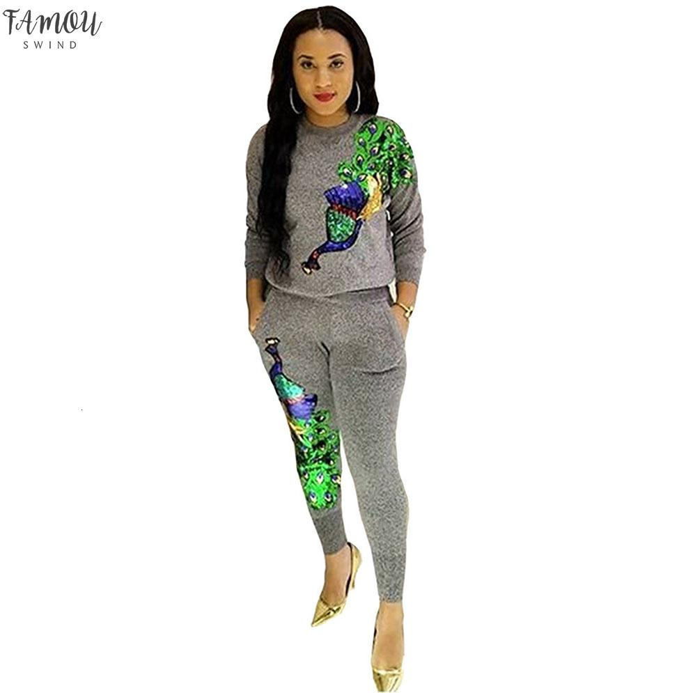 Peacock Sequined Full Sleeve Winter Pant Women Set Overalls Sweatshirt Tracksuit Lady Fashion Two Pieces Suits Casual B9056