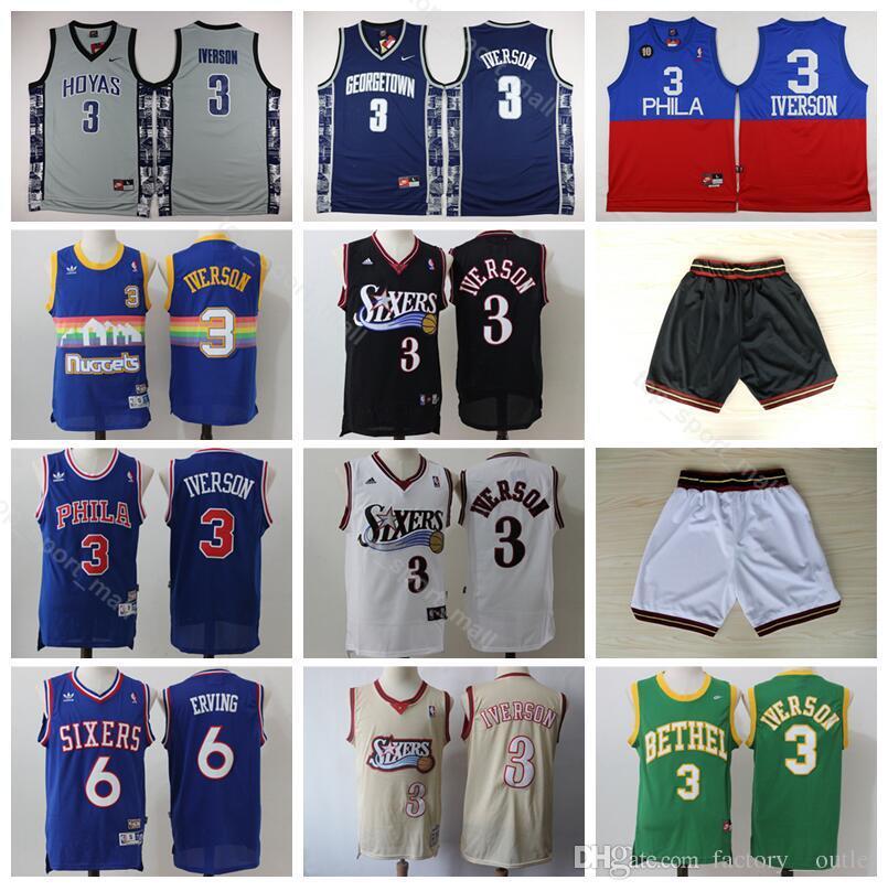 7f599946588b 2019 Philadelphia Basketball 76ers Allen 3 Iverson Jersey Men Georgetown  Hoyas College 6 Dr J Julius Erving Jerseys With Short Uniform From  Vip sport