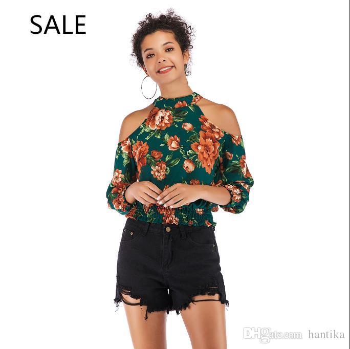 e4026d4cc3b Summer Top Women Sexy Floral Print Off Shoulder Long Sleeve Slim Body Shirt  New Arrival Fashion Ladies Blouses Polyester Buy Online T Shirts Make Tee  Shirts ...